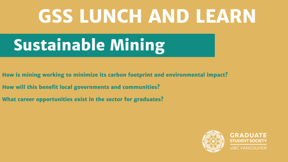 Lunch and Learn, sustainable mining